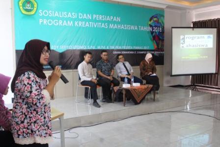 SOSIALISASI DAN PERSIAPAN PROGRAM KREATIVITAS MAHASISWA TAHUN ANGGARAN 2018
