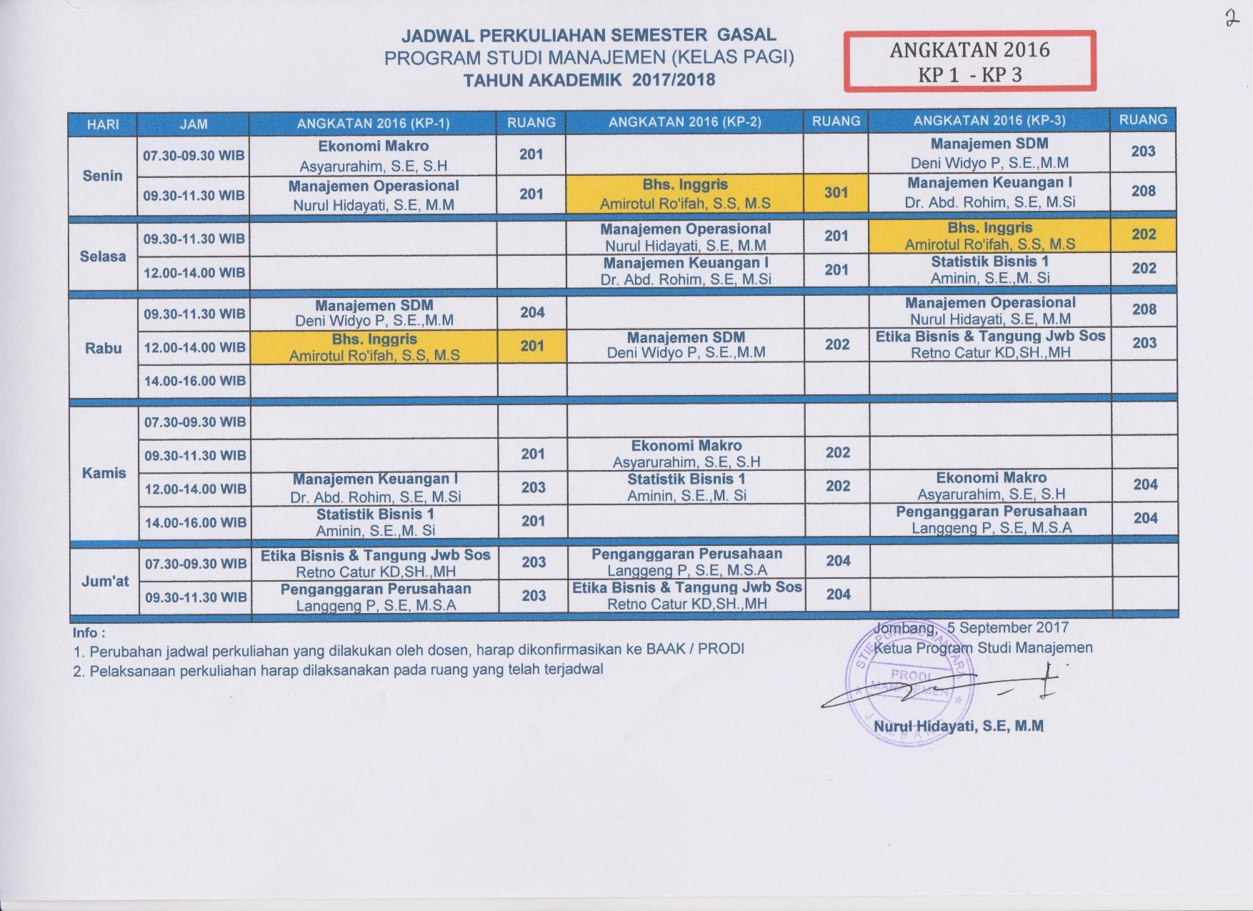 Jadwal Perkuliahan Semester Gasal Tahun Akademik 2017/2018