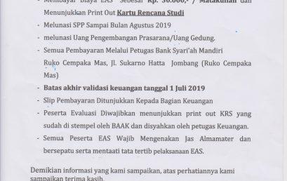 Pengumuman Evaluasi Akhir Semester Genap Tahun Akademik 2018-2019