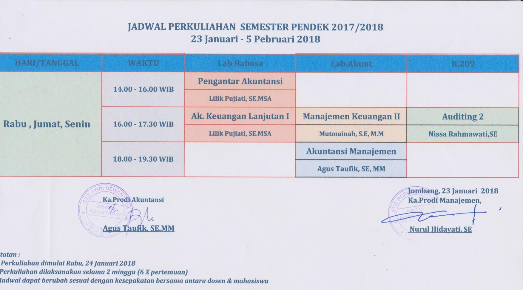 Jadwal Perkuliahan Semester Pendek Tahun Akademik 2017-2018