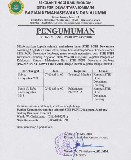 PENGUMUMAN MAHASISWA BARU STIE PGRI DEWANTARA