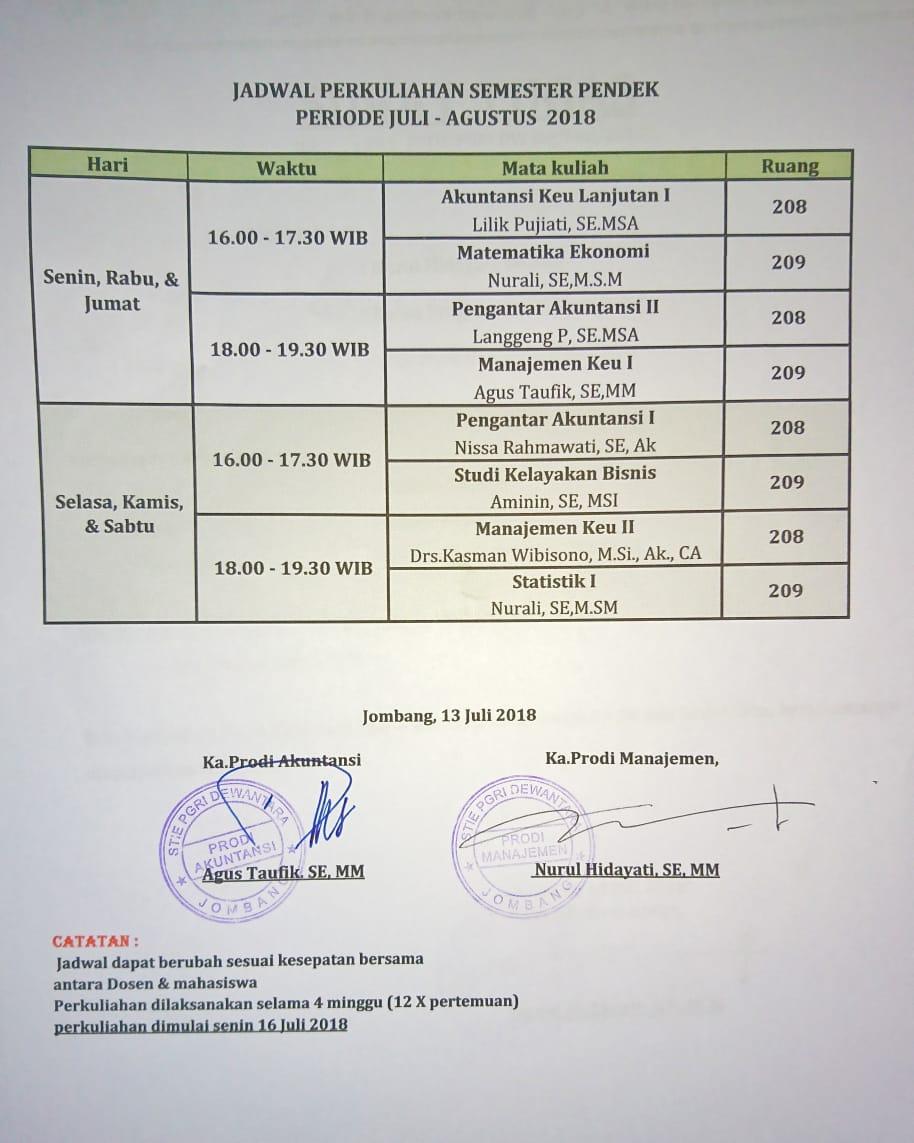 JADWAL PERKULIAHAN SEMESTER PENDEK PERIODE JULI – AGUSTUS 2018