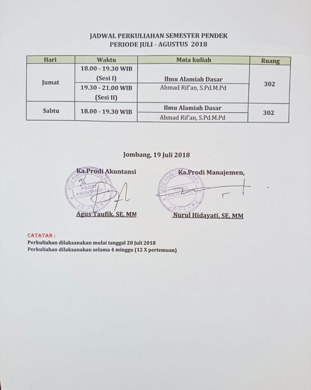 JADWAL PERKULIAHAN SEMESTER PENDEK PERIODE JULI-AGUSTUS 2018
