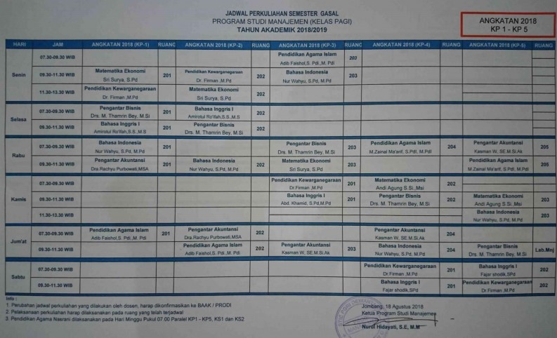Jadwal Perkuliahan Semester Gasal 2018-2019