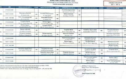 Jadwal Perkuliahan Semester Ganjil 2018-2019