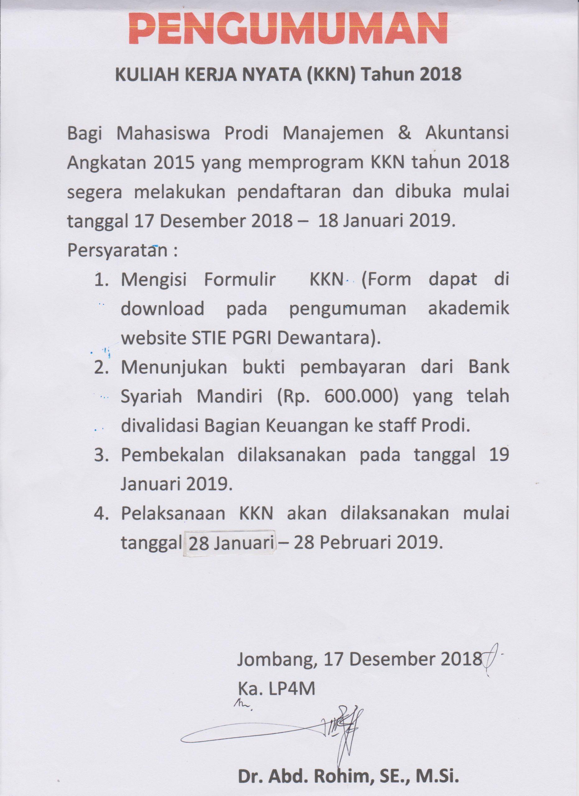 PENGUMUMAN KULIAH KERJA NYATA (KKN) Tahun 2018