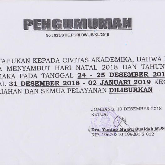 PENGUMUMAN LIBUR NATAL DAN TAHUN BARU 2019