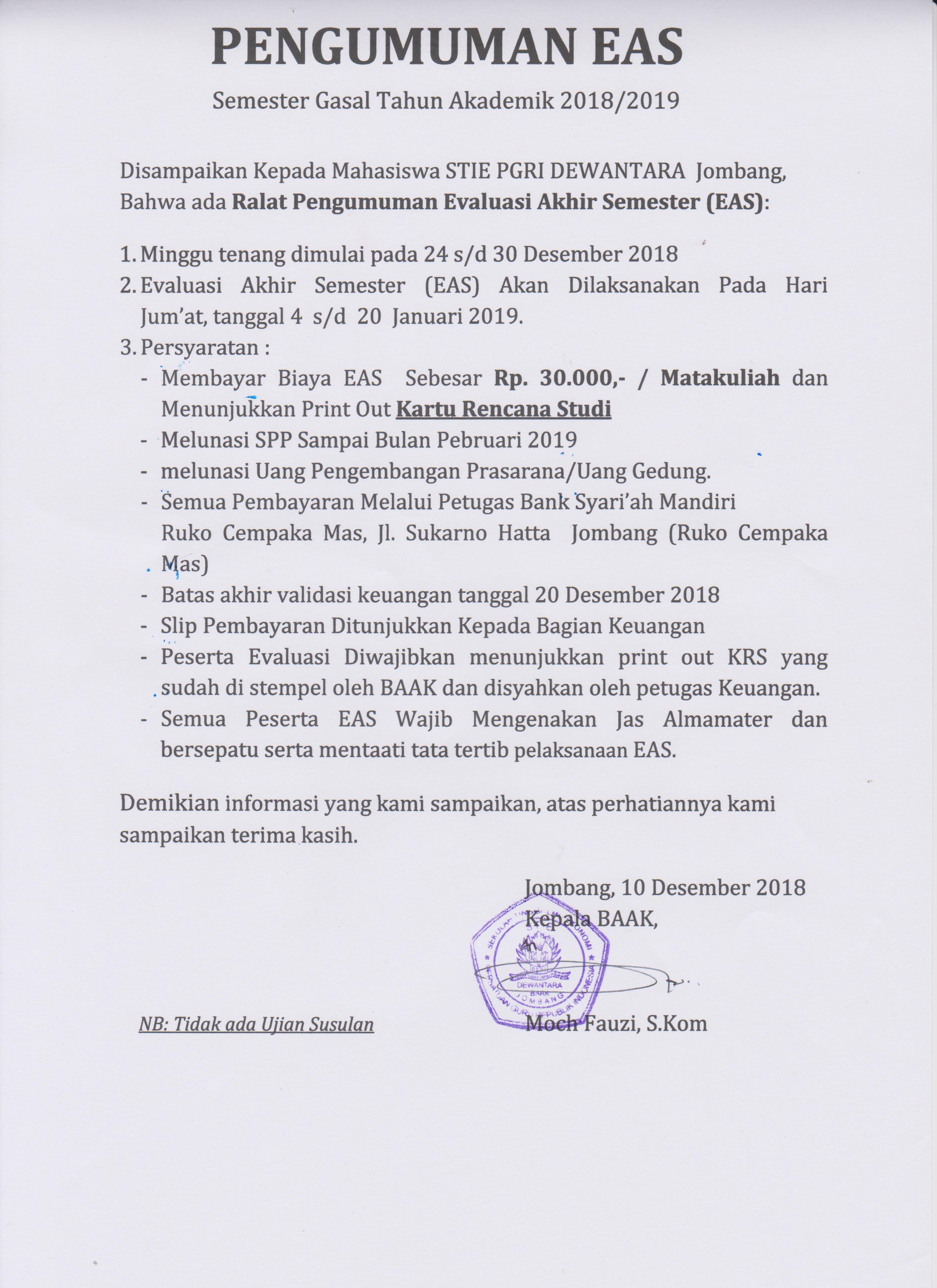 PENGUMUMAN EAS TA 2018-2019