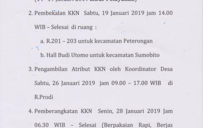 PENGUMUMAN JADWAL KULIAH KERJA NYATA KKN TAHUN 2019