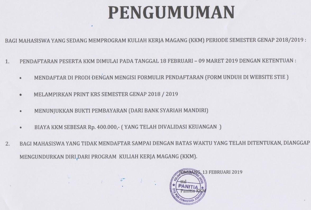 PENGUMUMAN KKM TAHUN AKADEMIK 2018/2019