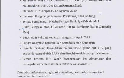 Pengumuman ETS Semester Genap Tahun Akademik 2018-2019