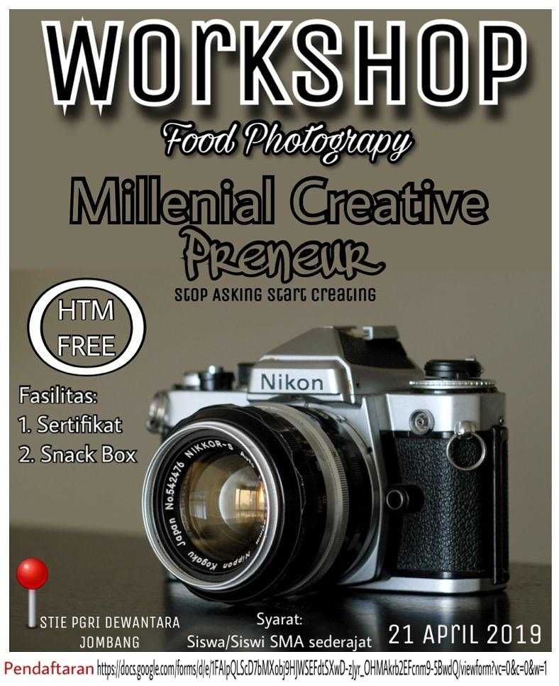 "WORKSHOP FOOD PHOTOGRAPHY ""MILLENIAL CREATIVE PRENEUR"""