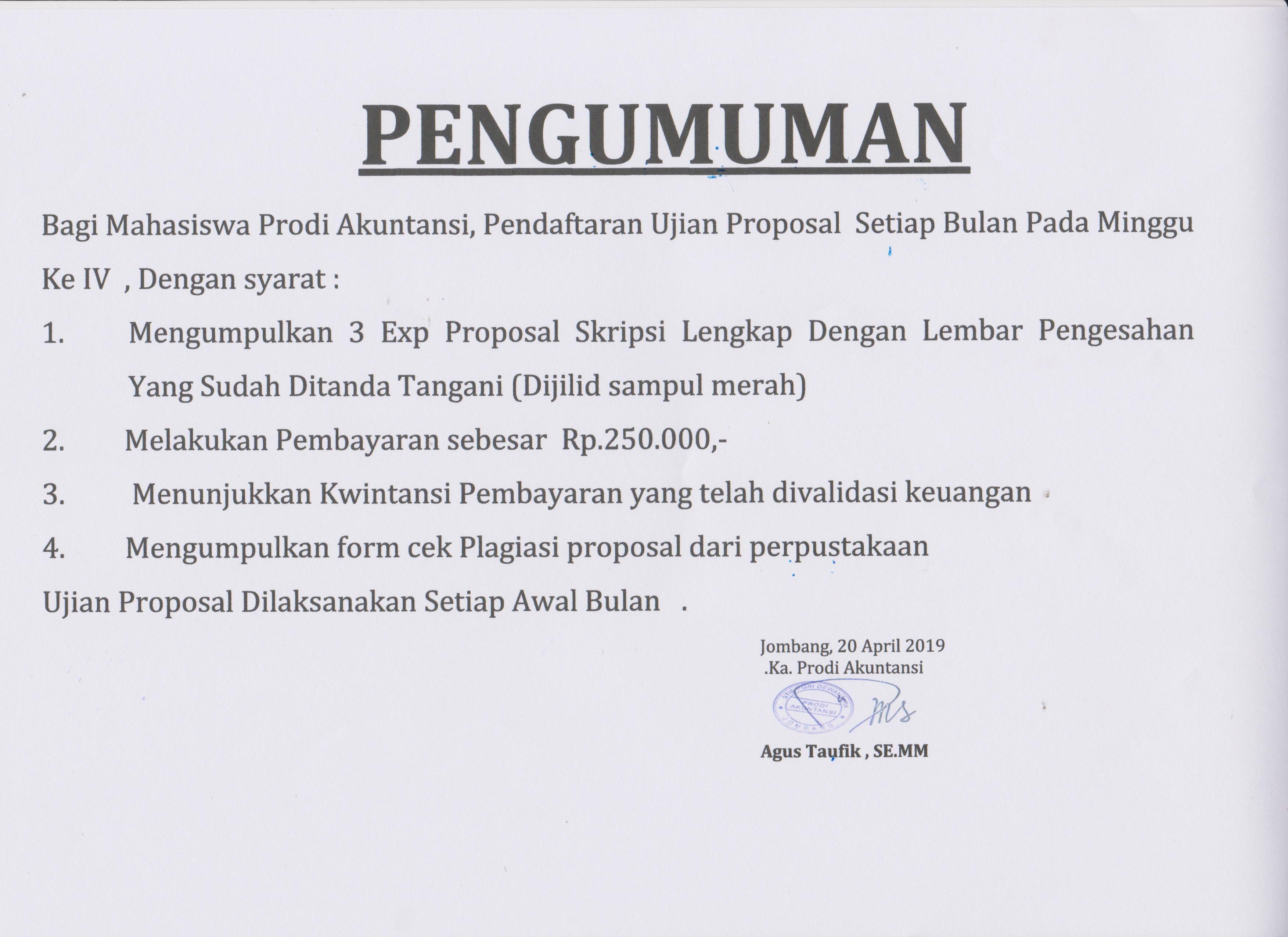 Pengumuman Proposal Skripsi Akuntansi Dan Manajemen 2019 Stie Pgri Dewantara Jombang