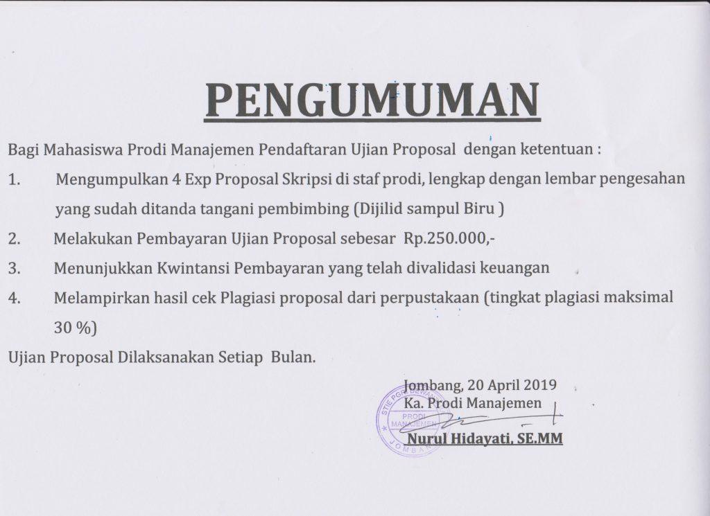 Pengumuman Proposal Skripsi Akuntansi Dan Manajemen 2019 Stie