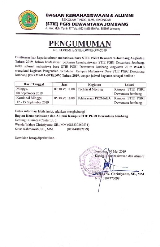 PENGUMUMAN PK2MABA UNTUK MAHASISWA BARU STIE PGRI DEWANTARA JOMBANG