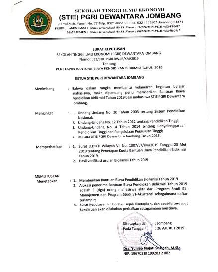 Surat Keputusan Beasiswa BIDIKMISI STIE PGRI Dewantara Jombang Tahun 2019