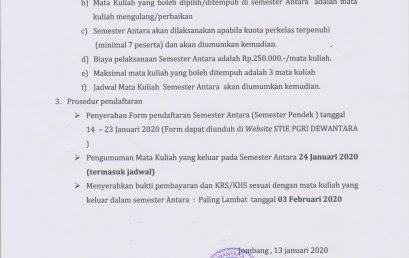 PENGUMUMAN SEMESTER ANTARA TA 2019/2020