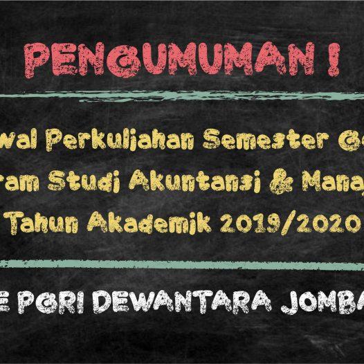 PENGUMUMAN JADWAL MATAKULIAH SEMESTER GENAP TA 2019/2020