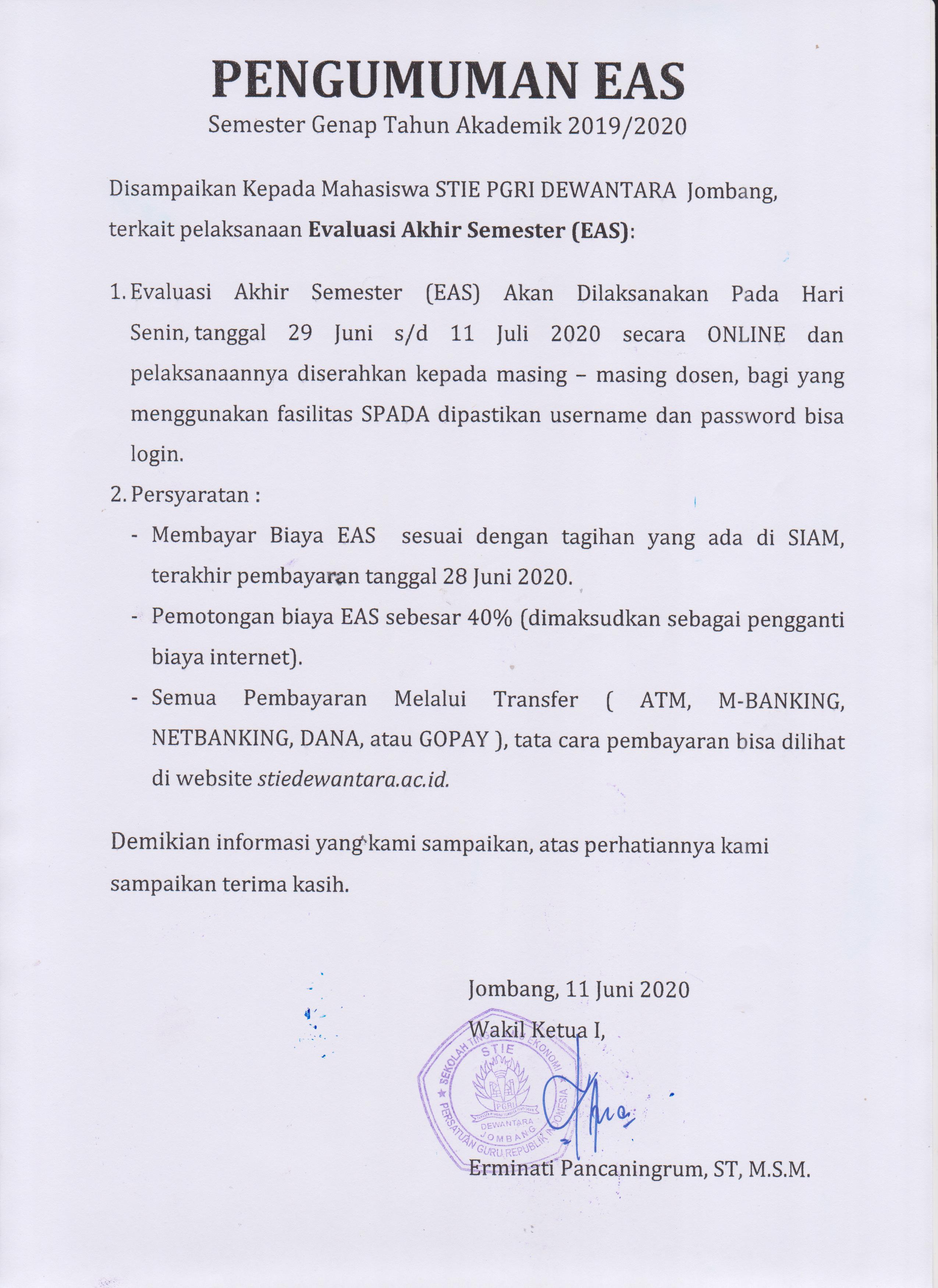 PENGUMUMAN EAS SEMESTER GENAP TAHUN AKADEMIK 2019/2020