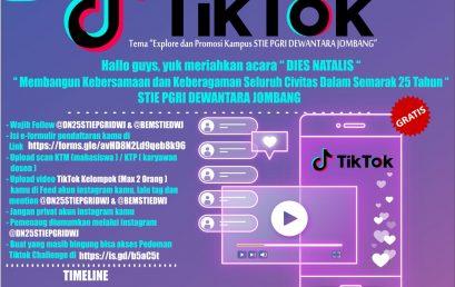 "DIES NATALIS KE 25th STIE PGRI DEWANTARA JOMBANG ""Challenge Tik Tok"""