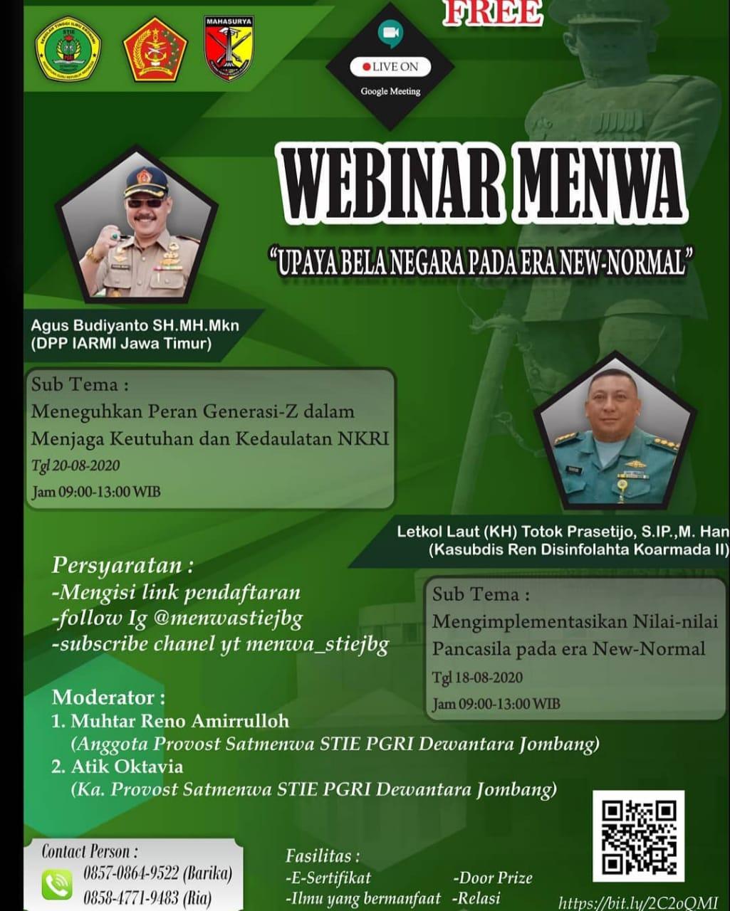 """WEBINAR RESIMEN MAHASISWA : """"UPAYA BELA NEGARA PADA ERA NEW-NORMAL"""""""