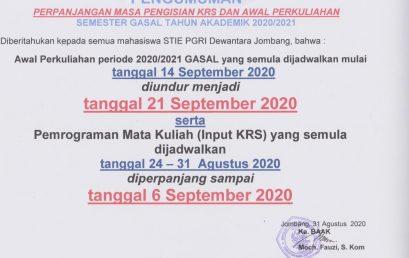 Pengumuman Perpanjangan Masa Pengisian KRS Dan Awal Perkuliahan Semester Gasal TA 2020/2021