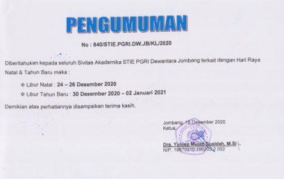 PENGUMUMAN LIBUR NATAL DAN TAHUN BARU 2021