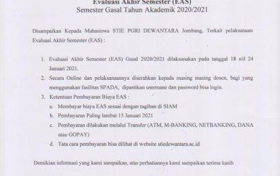 Pengumuman Evaluasi Akhir Semester Gasal Tahun Akademik 2020/2021