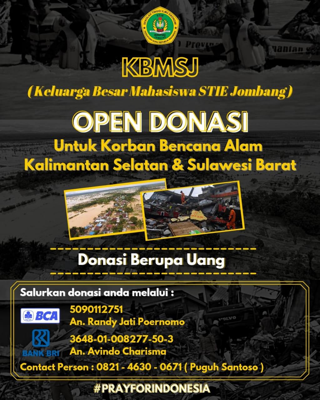 KBMSJ (Keluarga Besar Mahasiswa STIE Jombang) OPEN DONASI Untuk Korban Bencana Alam Kalimantan Selatan & Sulawesi Barat