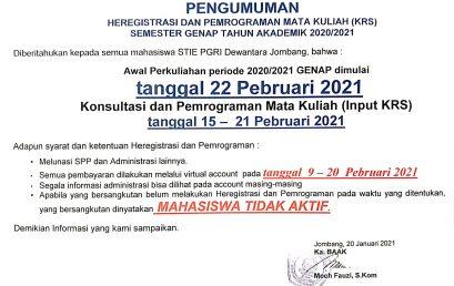 PENGUMUMAN KRS SEMESTER GENAP TA 2020-2021