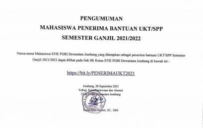 PENGUMUMAN MAHASISWA PENERIMA BANTUAN UKT/SPP SEMESTER GANJIL 2021/2022